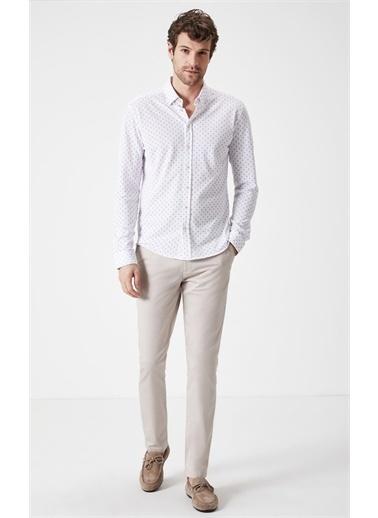 Boris Becker Mikro Desenli Örme Gömlek Beyaz